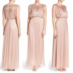 Adrianna Papell | Beaded Blouson Gown Rose Gold